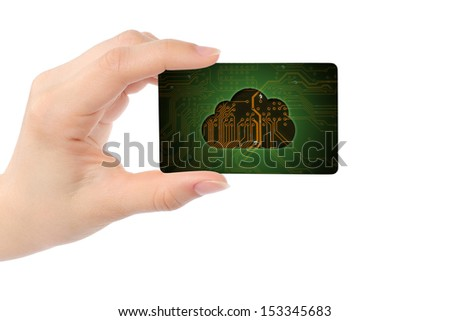 Hand with card and digital cloud, cloud computing concept  - stock photo