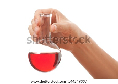 hand with chemical bottle isolated on white background - stock photo