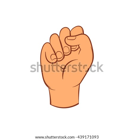 Hand with clenched fist icon, cartoon style - stock photo