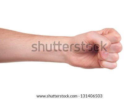 Hand with clenched fist, isolated on a white background - stock photo