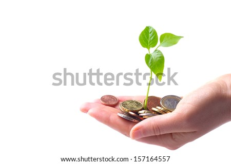 Hand with coins and sprout, concept for growth of business - stock photo