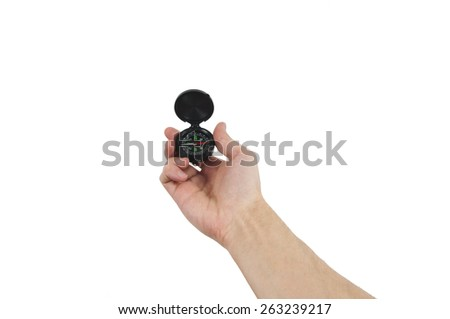 Hand with compass isolated - stock photo