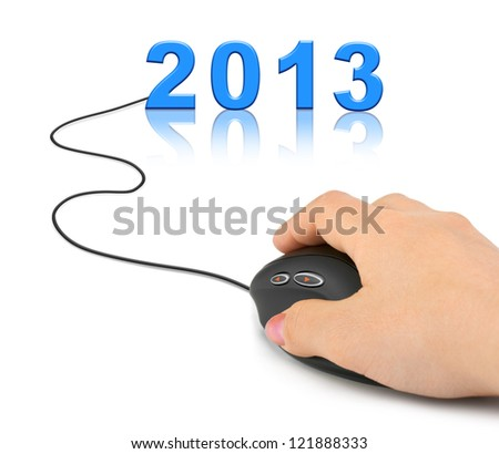Hand with computer mouse and 2013 - new year concept - stock photo