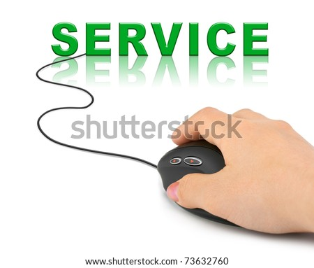 Hand with computer mouse and word Service - internet concept - stock photo