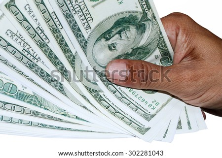 hand with dollar banknotes isolated background. - stock photo
