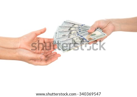 Hand with dollars isolated on white background - stock photo