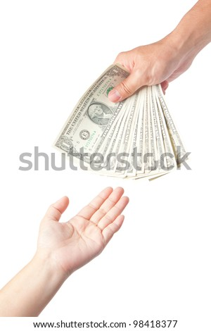 Hand with dollars on white background concept - stock photo