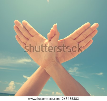 hand with dove sign on vintage - stock photo