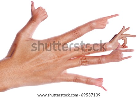 Hand with each finger sign on white - stock photo