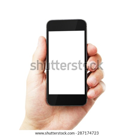 hand with empty cell phone on white background - stock photo