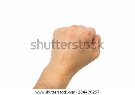 hand with fist above on white background - stock photo