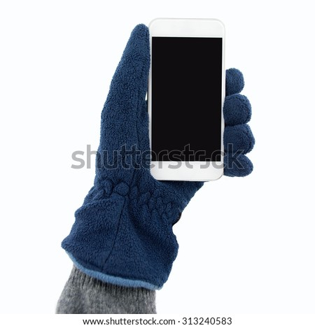 hand with glove holding the smartphone on white background - stock photo