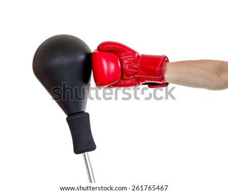 hand with glove punch a punching ball, hook position - stock photo