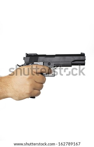 Hand with gun isolated - stock photo