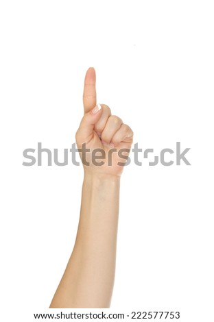 Hand with index finger, isolated on a white background - stock photo