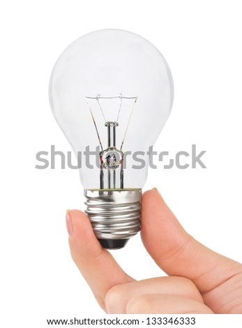 Hand with lamp isolated on white background - stock photo