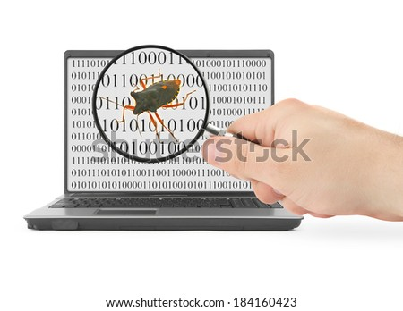 Hand with magnifying glass is searching for computer bug, binary code is abstract - stock photo
