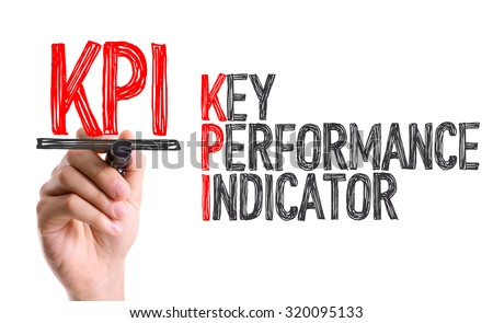 Hand with marker writing: KPI - stock photo