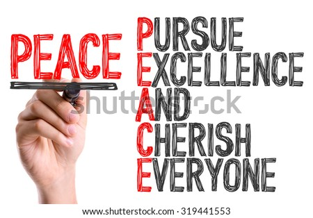 Hand with marker writing: Peace Acronmy - stock photo