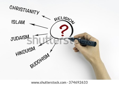 Hand with marker writing Religion concept - stock photo