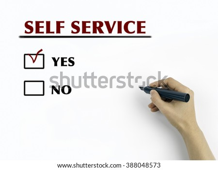 Hand with marker writing: Self Service - stock photo