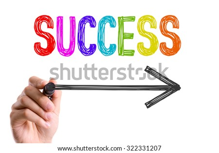 Hand with marker writing: Success - stock photo
