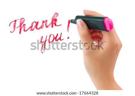 Hand with marker writing Thank You isolated on white background - stock photo