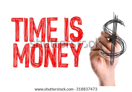 Hand with marker writing: Time is Money - stock photo