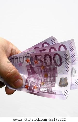 hand with money euro - stock photo