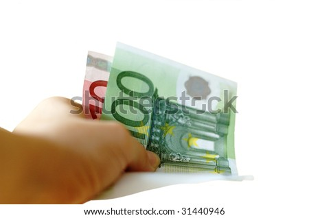 Hand with money (Euro banknotes) - stock photo