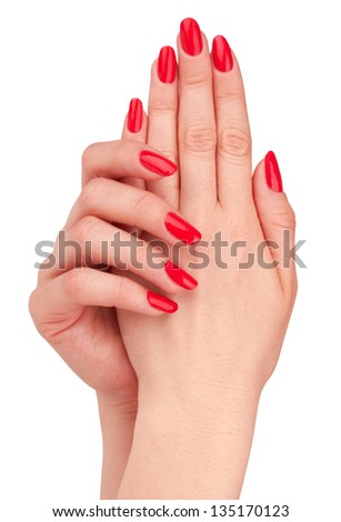 Hand with nail red manicure isolated on white background - stock photo