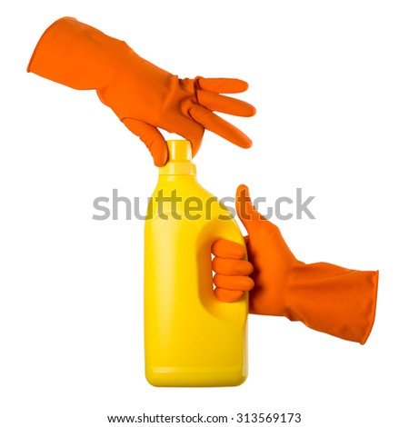 Hand with orange gloves holding cleaning product, isolated on white - stock photo