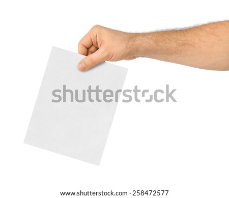 Hand with paper ballot isolated on white background - stock photo