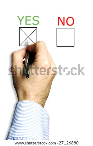 hand with pen and a choice of yes and no box to thick for answer, choosing yes - stock photo