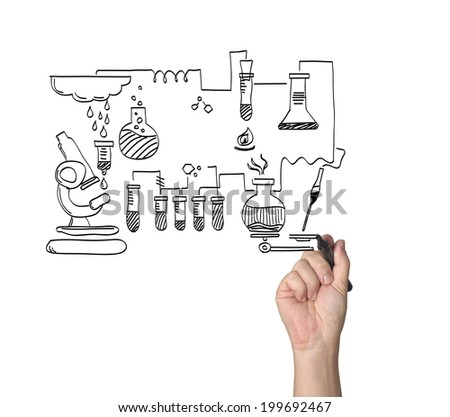 hand with pen drawing - stock photo