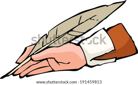 Hand with pen on white background raster version - stock photo