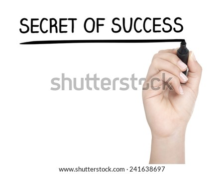 Hand with pen writing SECRET OF SUCCESS on whiteboard - stock photo