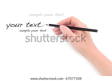 Hand with pencil - stock photo