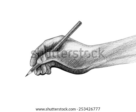 Hand with pencil write drawing isolated - stock photo