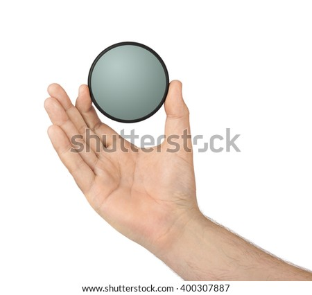 Hand with photo filter isolated on white background - stock photo