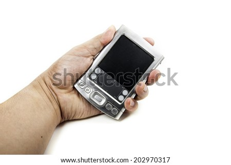 Hand with Pocket PC on white background - stock photo