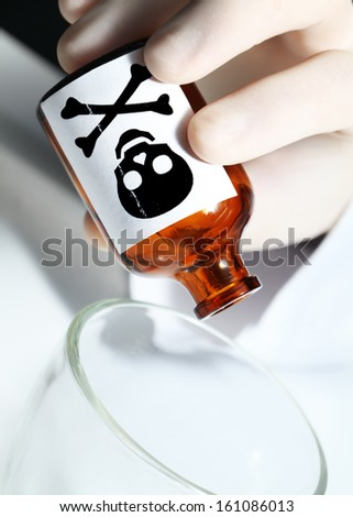 Hand with poison. Symbol of the crime. - stock photo