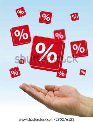 hand with red percent signs flying - stock photo