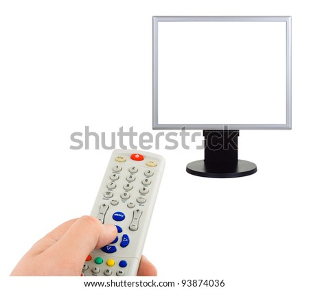 Hand with remote control and tv isolated on white background - stock photo
