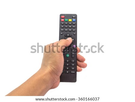 Hand with remote control on white background. - stock photo