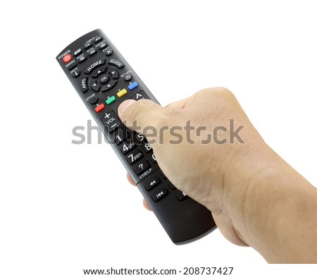 Hand with remote control smart TV on white  - stock photo