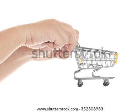 hand with shopping cart isolated on white background - stock photo