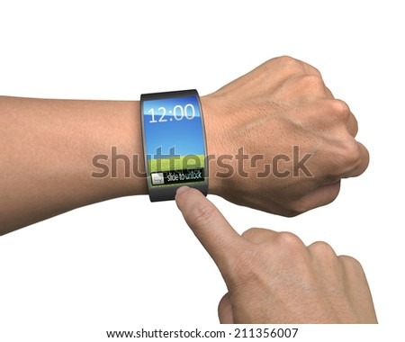 hand with smartwatch and finger touch colorful screen isolated on white background - stock photo