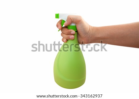 Hand With Sprayer Isolated On White Background - stock photo