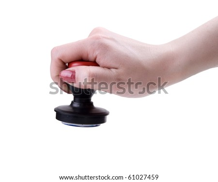 Hand with stamp for documents on white background - stock photo